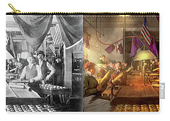 Carry-all Pouch featuring the photograph Machinist - War - Meanwhile In The Bomb Factory 1912 - Side By Side by Mike Savad