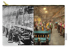 Carry-all Pouch featuring the photograph Machinist - War - The Shell Dept 1900 - Side By Side by Mike Savad