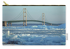 Carry-all Pouch featuring the photograph Mackinac Bridge In Ice 2161801 by Rick Veldman