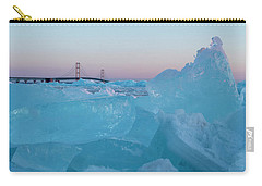 Carry-all Pouch featuring the photograph Mackinac Bridge In Ice 2161805 by Rick Veldman
