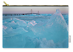 Carry-all Pouch featuring the photograph Mackinac Bridge In Ice 2161806 by Rick Veldman
