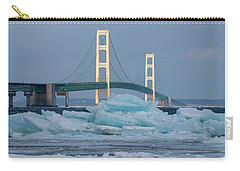 Carry-all Pouch featuring the photograph Mackinac Bridge In Ice 2161809 by Rick Veldman