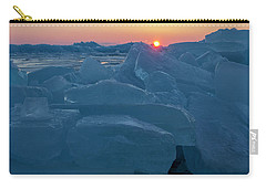 Carry-all Pouch featuring the photograph Mackinaw City Ice Formations 21618013 by Rick Veldman
