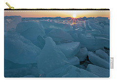 Carry-all Pouch featuring the photograph Mackinaw City Ice Formations 21618014 by Rick Veldman