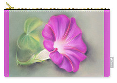 Magenta Morning Glory And Leaf Carry-all Pouch