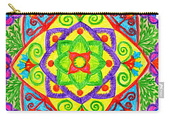Carry-all Pouch featuring the drawing Mandala 1 by Dobrotsvet Art
