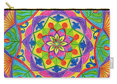 Carry-all Pouch featuring the drawing Mandala 2 by Dobrotsvet Art
