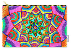 Carry-all Pouch featuring the drawing Mandala 3 by Dobrotsvet Art