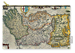 Carry-all Pouch featuring the painting Map Of Ireland By Boazio by Val Byrne