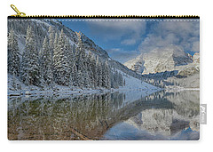 Carry-all Pouch featuring the photograph Maroon Bells Reflection In The Maroon Lake With Fresh Snow Aspen Colorado Usa. by OLena Art Brand