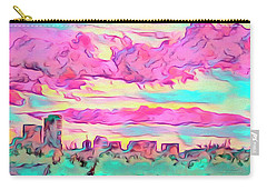 Carry-all Pouch featuring the digital art Mile High Sunset by Mike Braun
