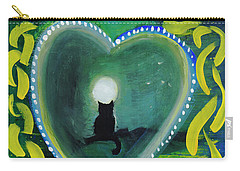 Carry-all Pouch featuring the painting Moon Cat Ornament by Dobrotsvet Art