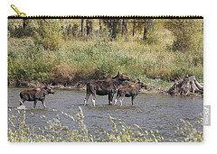 Moose With Twins Carry-all Pouch