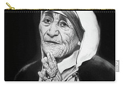 Carry-all Pouch featuring the drawing Mother Teresa by Anthony Falbo