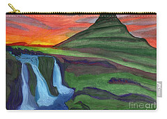 Mountain And Waterfall In The Rays Of The Setting Sun Carry-all Pouch
