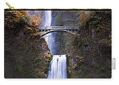 Carry-all Pouch featuring the photograph Multnomah Falls Autumn Colors by Rospotte Photography