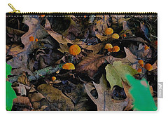 Carry-all Pouch featuring the photograph Mushrooms And Leaf Litter by Lukas Miller