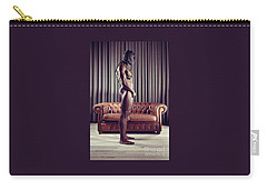 Naked Man With Mask Standing In Front Of A Sofa Carry-all Pouch