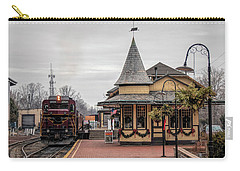 Carry-all Pouch featuring the photograph New Hope Train Station At Christmas by Kristia Adams