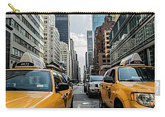 Carry-all Pouch featuring the photograph Ny Taxis by Top Wallpapers