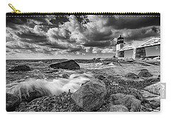 Carry-all Pouch featuring the photograph October Morning At Marshall Point In Black And White by Rick Berk