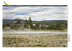 Carry-all Pouch featuring the photograph Old Faithful Inn Hotel In The Yellowstone National Park by Tatiana Travelways