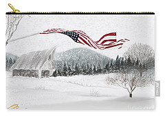 Old Glory In The Snow Carry-all Pouch