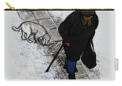 Carry-all Pouch featuring the digital art Old Lady With A Dog by Attila Meszlenyi