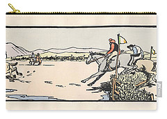 Carry-all Pouch featuring the painting Omey Races, Galway by Val Byrne