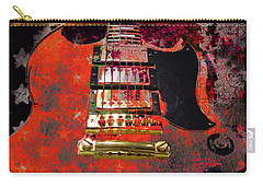 Orange Electric Guitar And American Flag Carry-all Pouch