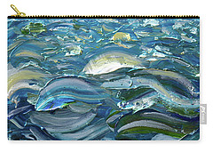 Carry-all Pouch featuring the painting Original Oil Painting With Palette Knife On Canvas - Impressionist Roling Blue Sea Waves  by OLena Art Brand