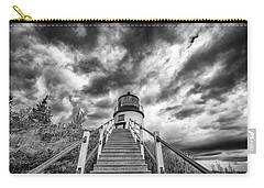 Carry-all Pouch featuring the photograph Owls Head Lighthouse In Black And White by Rick Berk