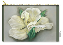 Carry-all Pouch featuring the pastel Pale Yellow Rose And Green Rosebuds by MM Anderson