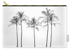 Palm Trees On The Beach In Black And White Carry-all Pouch