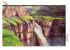 Carry-all Pouch featuring the painting Palouse Falls Rush by Steve Henderson