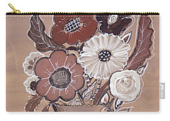Carry-all Pouch featuring the painting Paper Bag Bouquet by Robin Maria Pedrero