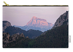 Carry-all Pouch featuring the photograph Pena Montanesa Glowing Red by Stephen Taylor