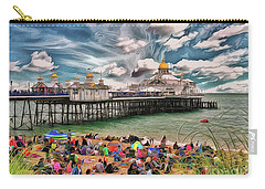 Carry-all Pouch featuring the photograph People And The Pier by Leigh Kemp