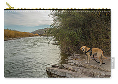 Carry-all Pouch featuring the photograph Photo Dog Jackson At The Rio Grande by Matthew Irvin