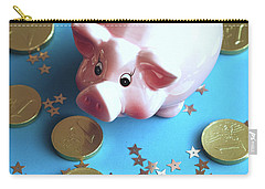 Piggy Bank On The Background With The  Chocoladen Coins Carry-all Pouch