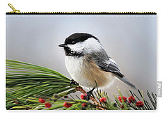 Carry-all Pouch featuring the mixed media Pine Chickadee by Christina Rollo