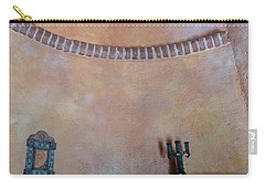 Carry-all Pouch featuring the photograph Pink Adobe Wall by Rosanne Licciardi