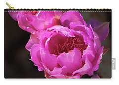 Carry-all Pouch featuring the photograph Pink Cactus Flowers 2 by Tatiana Travelways