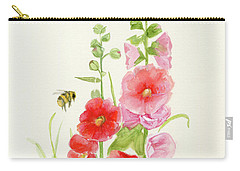 Pink Hollyhock Watercolor Carry-all Pouch