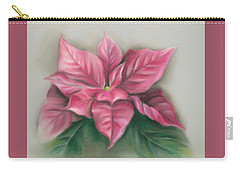 Carry-all Pouch featuring the pastel Pink Poinsettia by MM Anderson