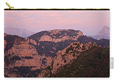 Carry-all Pouch featuring the photograph Pink Skies Above Pena Montanesa by Stephen Taylor