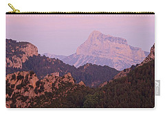 Carry-all Pouch featuring the photograph Pink Skies And Alpen Glow In The Anisclo Canyon by Stephen Taylor