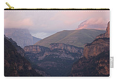 Carry-all Pouch featuring the photograph Pink Skies In The Anisclo Canyon by Stephen Taylor