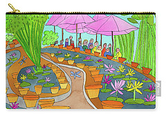 Pink Umbrella And Lilies Carry-all Pouch