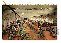 Carry-all Pouch featuring the photograph Plane - Factory - Aircraft Repair 1919 by Mike Savad